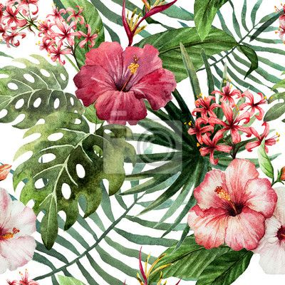 "Wall Mural ""isolated, tree, popular - pattern orchid hibiscus leaves watercolor tropics"" ✓ Easy Installation ✓ 365 Day Money Back Guarantee ✓ Browse other patterns from this collection!"