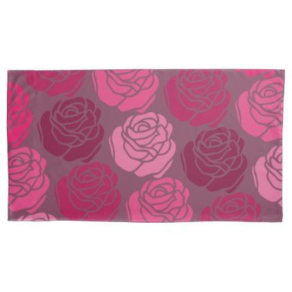 Bed of Roses Monochrome Pink Pillow Case - rose style gifts diy customize special roses flowers