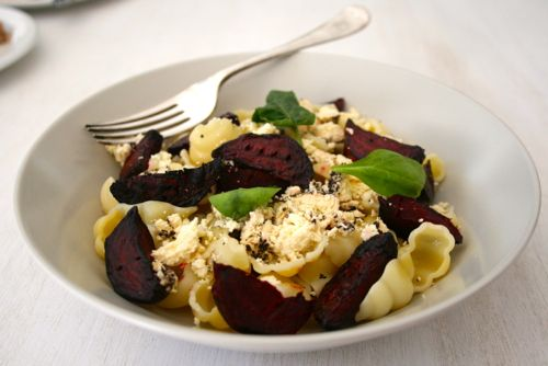 Pasta Shells with Roasted Beetroot, Goats Cheese & Dill