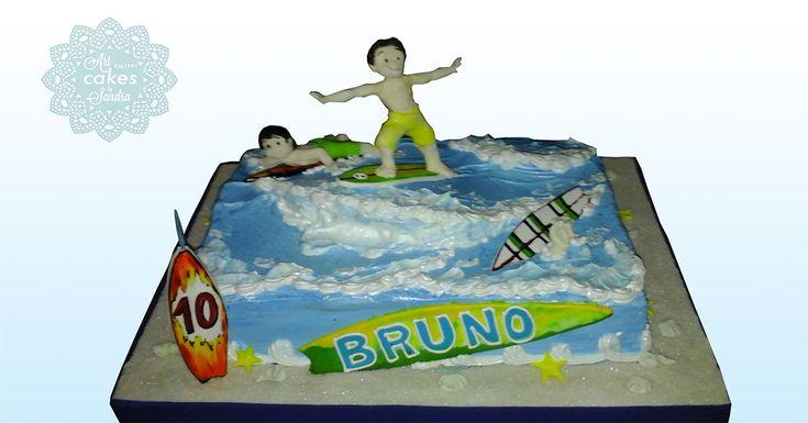 boy birthday cake theme surf #bysandradesouza