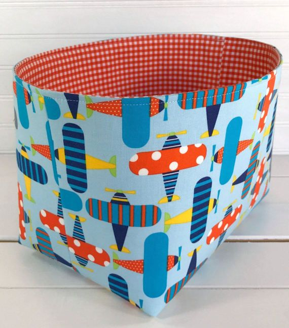 Organizer Basket, Fabric Bin, Nursery Decor, Storage Bin, Fabric Basket Bin,  Home Decor, Navy Blue, Lime Green, Yellow, Orange   Airplanes Organizer  Basket, ...