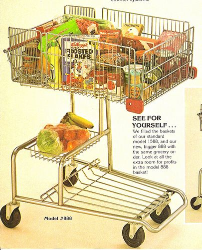 1970's Grocery Cart With Vintage Food