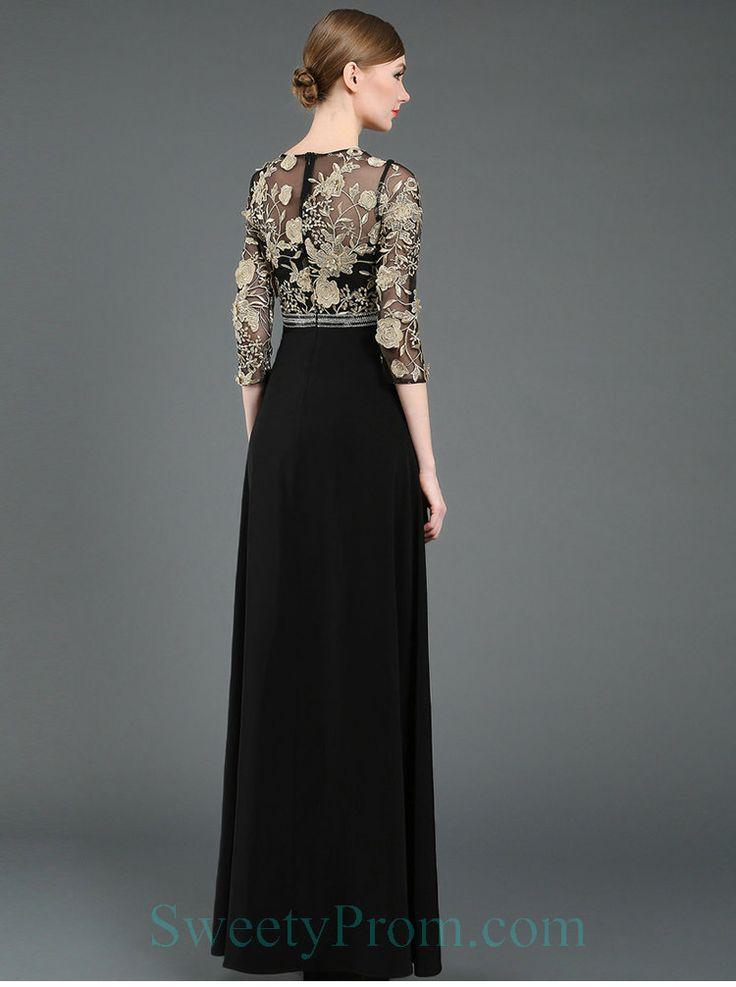 Beteau Chiffon Black With Champagne Embroidery Evening Dress With Sleeves,Beteau Chiffon Black With Champagne Embroidery Evening Dress With Sleeves