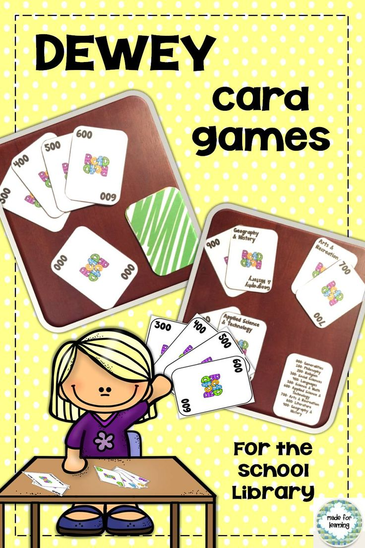 How about including some easy card games in your learning centers in your school library media center? Use the rules of popular games like Go Fish, Old Maid and Match Game to add activities that teach the Dewey Decimal Classification System. Fun for all elementary kids. $