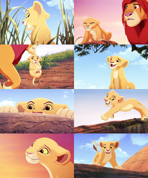 """""""Who does she remind you of?"""" """"Hmm? Who?"""" """"She's just like you were when we were young."""" """"Exactly! Do you realise the danger we put ourselves in?"""" """"You mean the danger you put us in? She'll be fine."""" -Nala and Simba"""