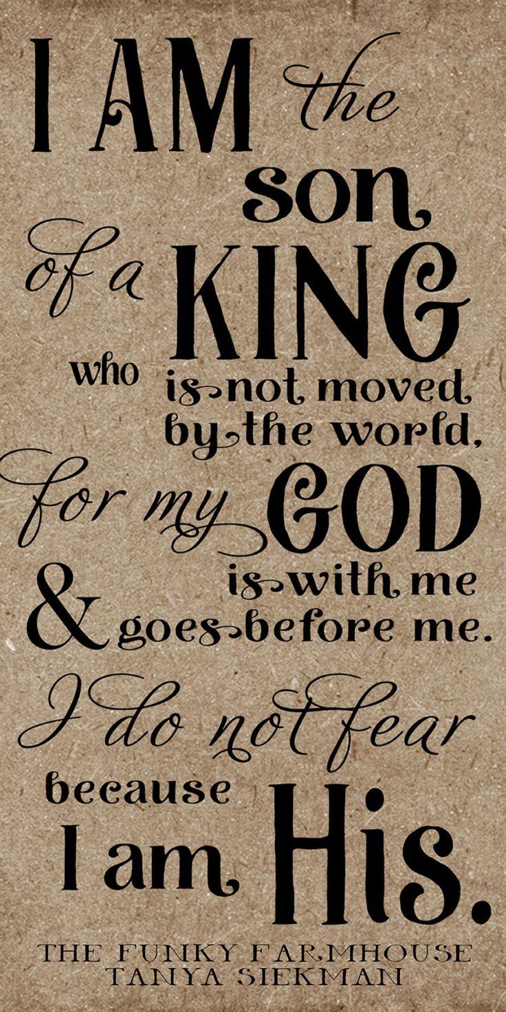 SVG, DXF & PNG - I am the son of a king who is not moved by the world, I am his by MyFunkyFarmHouse on Etsy