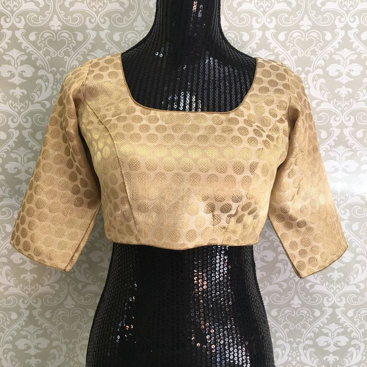 Silk Brocade Blouse-Gold