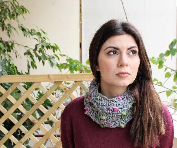 Hand knit gift snood Cowl snood scarf Gray crochet by MariliartbyM