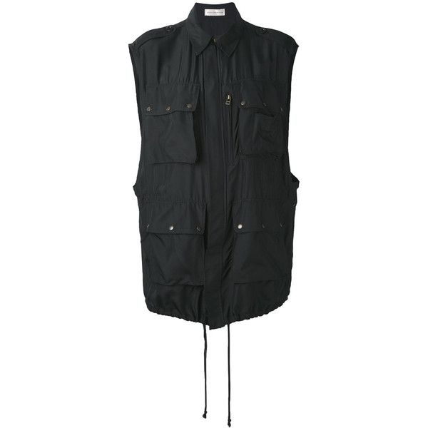 Faith Connexion utility gilet ($1,060) ❤ liked on Polyvore featuring outerwear, vests, black, faith connexion, silk vest, utility vest and gilet vest