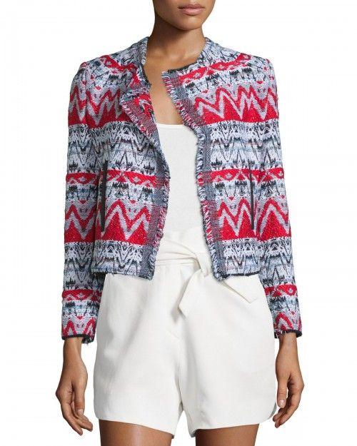 Iro+Kroe+Tweed+Chevron+Jacket+Black+Red+Women's+38+|+Coat,+Jacket+and+Clothing