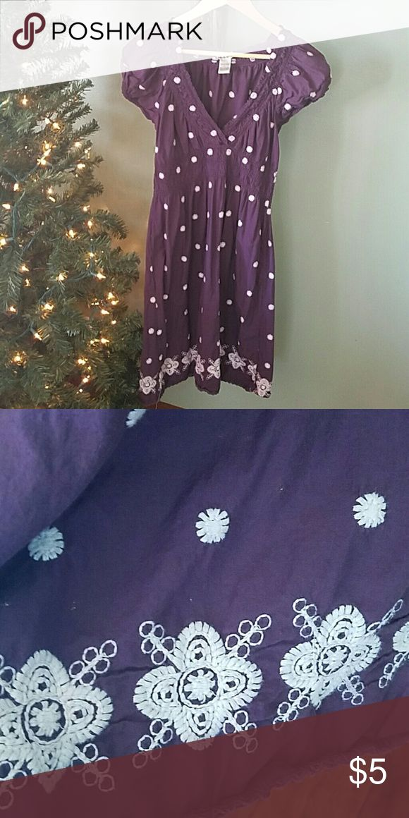 Plum floral cotton dress Large plum cotton dress. Comfy for summer, good condition a bit of fading but only worn a couple times. Dresses