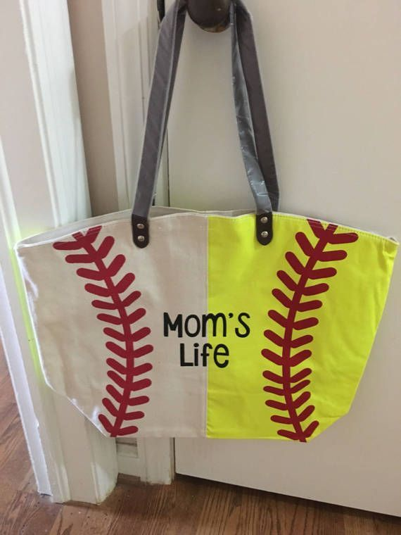 22a48f85cf34 This listing is for one tote bag with both softball and baseball ...