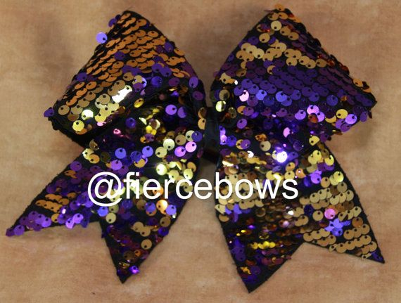 Purple and gold Reversible Sequin Cheer Bow by MyFierceBows, $11.00