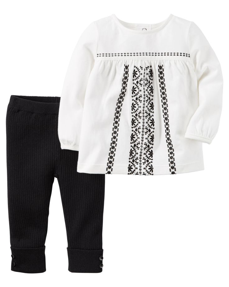 A babydoll top pairs perfectly over snuggly sweater knit pants for picture perfect style!