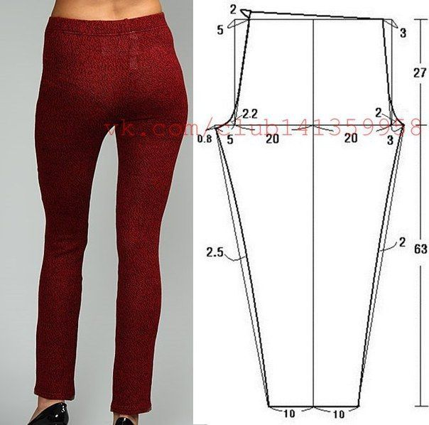 Trousers leggings on an elastic band, a pattern on the size 44\/46 (dews.), growth 160.\u000d\u000a#простыевыкройки #простыевещи of #шитье #брюки of #легинсы #выкройка