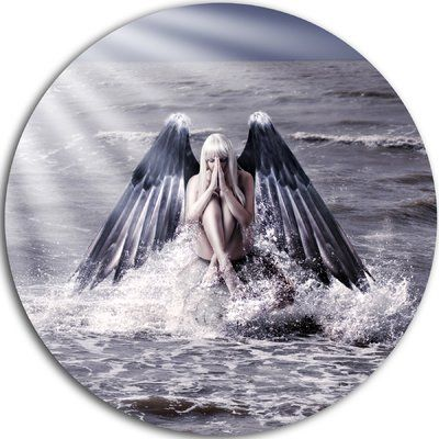 "DesignArt 'Woman with Dark Angel Wings' Modern Beach Photographic Print on Metal Size: 11"" H x 11"" W x 1"" D"