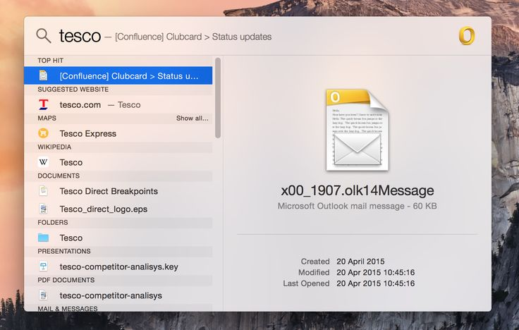 Live search from Mac OS X, displays results in different categories and previews top hit