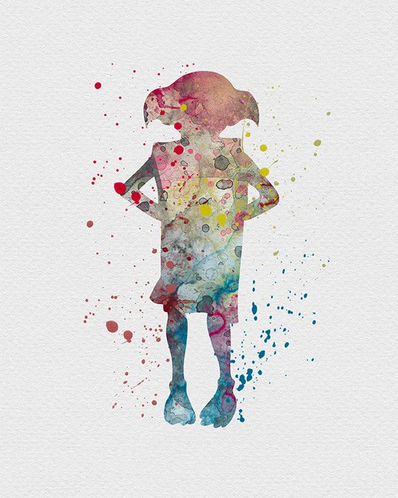 Dobby Harry Potter Watercolor Art Dobby or Dobby you free houseelf. I am crying Why is this his back? he is gone :( ...