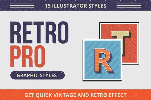 RetroPro-Illustrator Graphic Styles by Chewed Vector on Creative Market