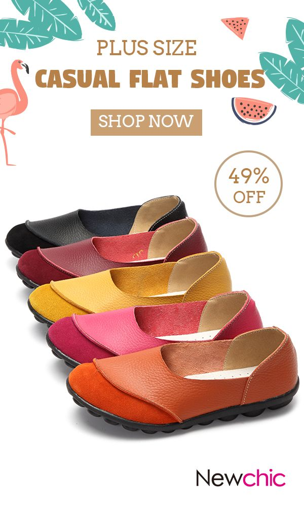 US$14.76 Women Big Size Color Match Soft Comfy Ballet Pattern Casual Flat  Shoes