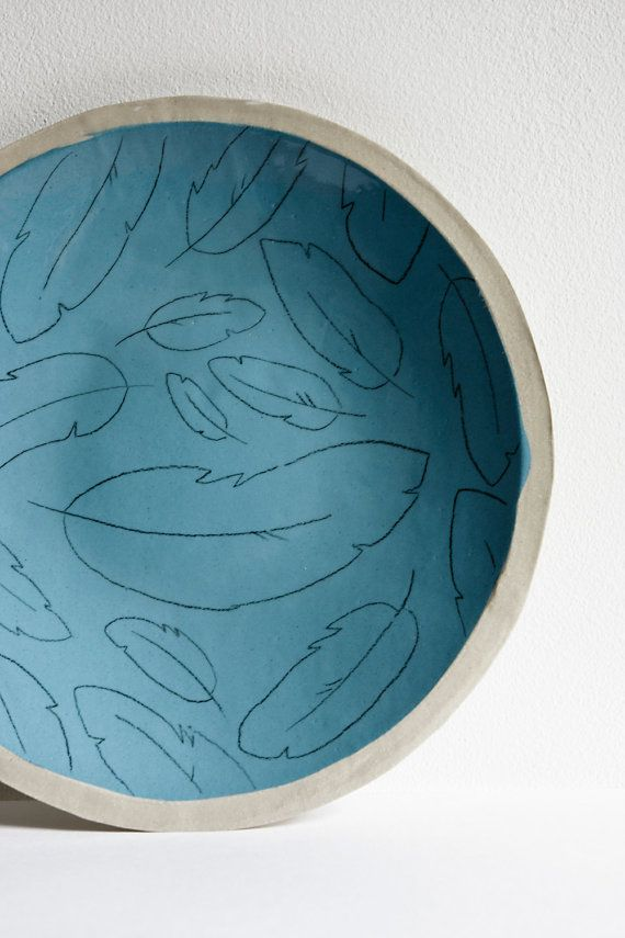 large plate. decorative plate. blue feathers. handmade by karoArt