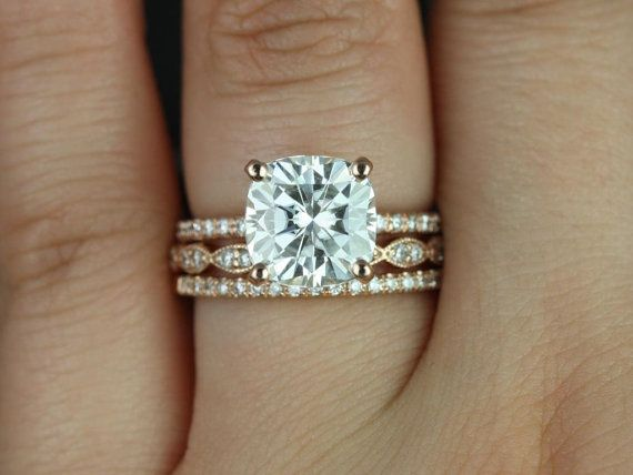 Heidi 9mm & Christie 14kt Rose Gold Cushion FB Moissanite and Diamond Basket TRIO Wedding Set (Other metals and stones available)