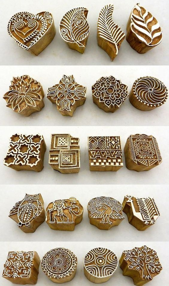 Hand Carved Wooden Block Printed Indian Stamps - Wood Printing Stamping…