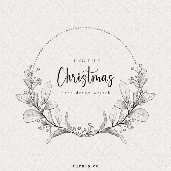 Christmas Wreath Clipart Black And White Holiday Wreath Png Etsy Christmas Wreath Clipart Clip Art Borders Christmas Wreaths