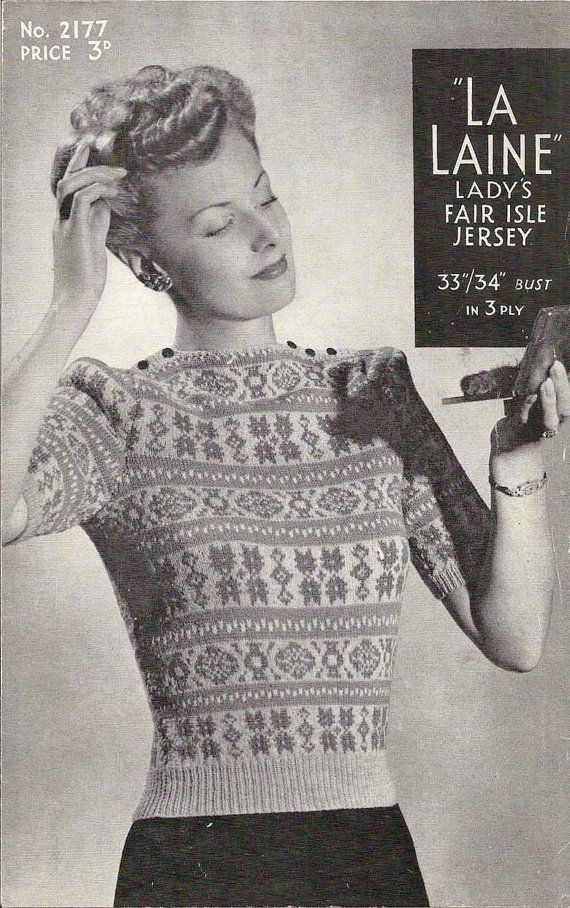 1940's Fair Isle Jersey Vintage Knitting Pattern by knittedcouture, $4.50