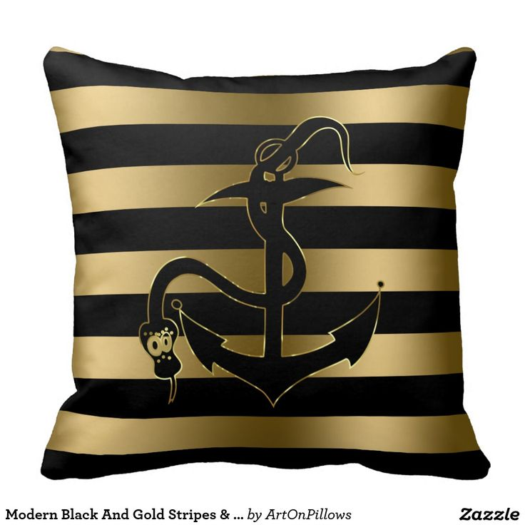Modern Black And Gold Stripes & Nautical Anchor Cushion