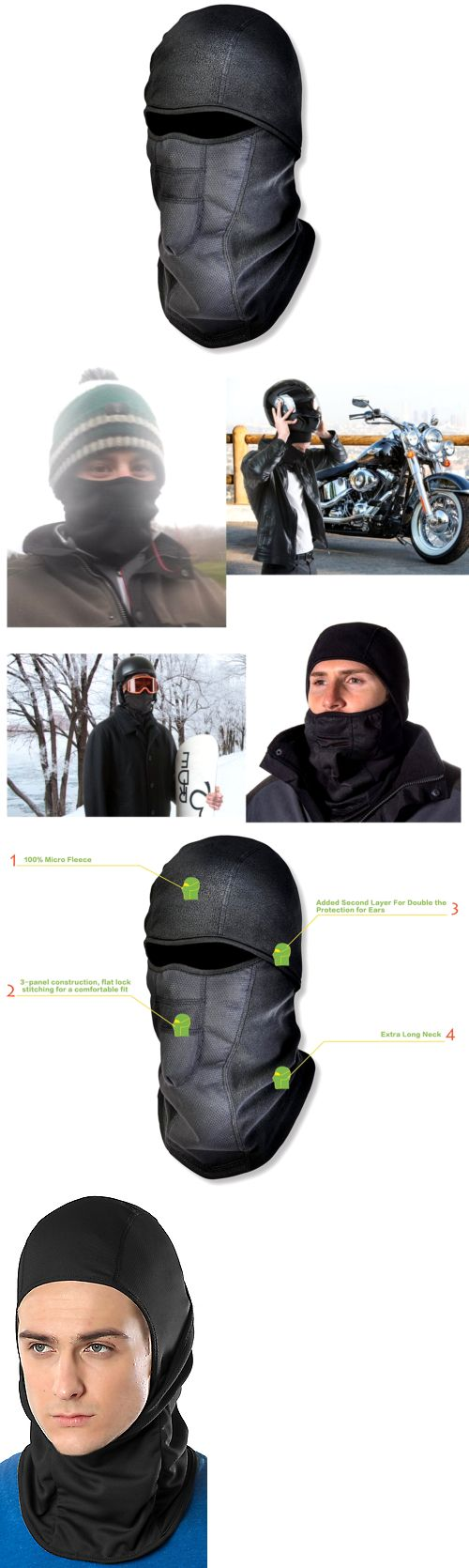Hats and Headwear 62175: Balaclava Ski Thermal Fleece Motorcycle Full Face Mask Outdoor Cover Winter -> BUY IT NOW ONLY: $32.2 on eBay!
