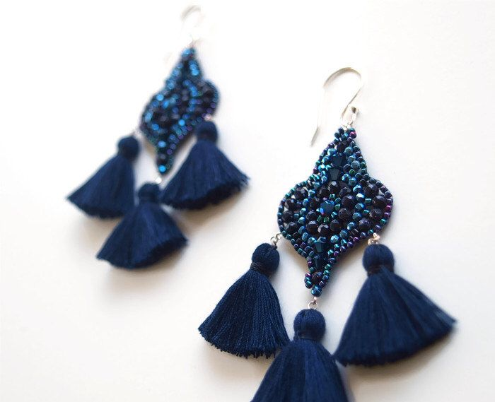 A personal favorite from my Etsy shop https://www.etsy.com/listing/386451564/dark-blue-tassel-earrings-black-star