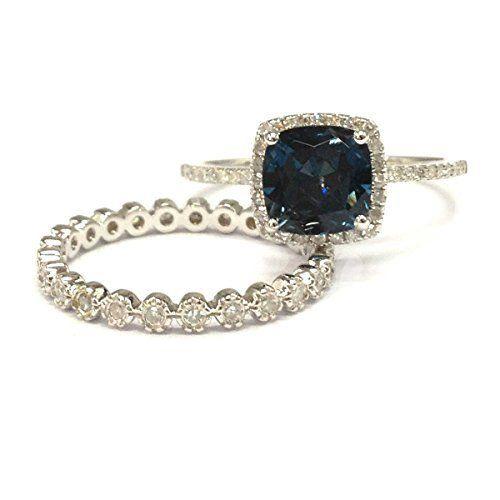$779 Cushion London Blue Topaz Engagement Ring Sets Pave Diamond Wedding 14K White Gold – Lord of Gem Rings
