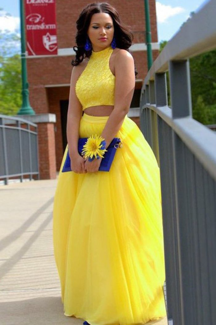 5797e48a77c Two Piece Jewel Floor-Length Open Back Yellow Prom Evening Dress with  Beading