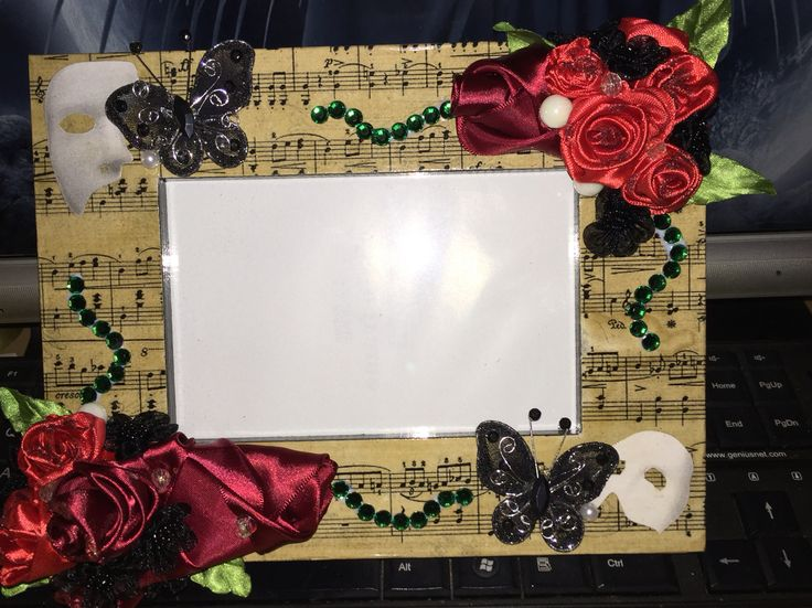 Phantom of the Opera decoupage with ribbon roses on photo frame