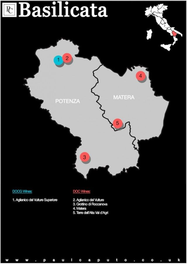 DOC and DOCG Map of Basilicata Italy