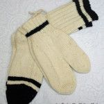 Ecure (White) Socks & Mittens with Black Stripes
