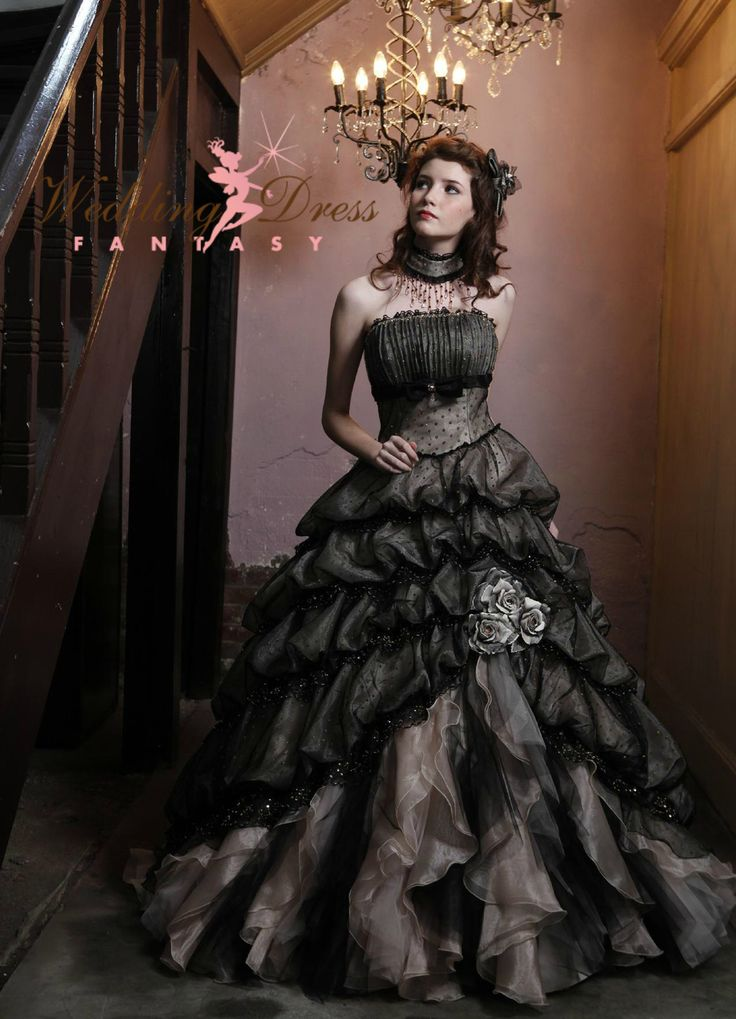 Wedding Dress Fantasy - Black and Cream Gothic Wedding Dress Halloween