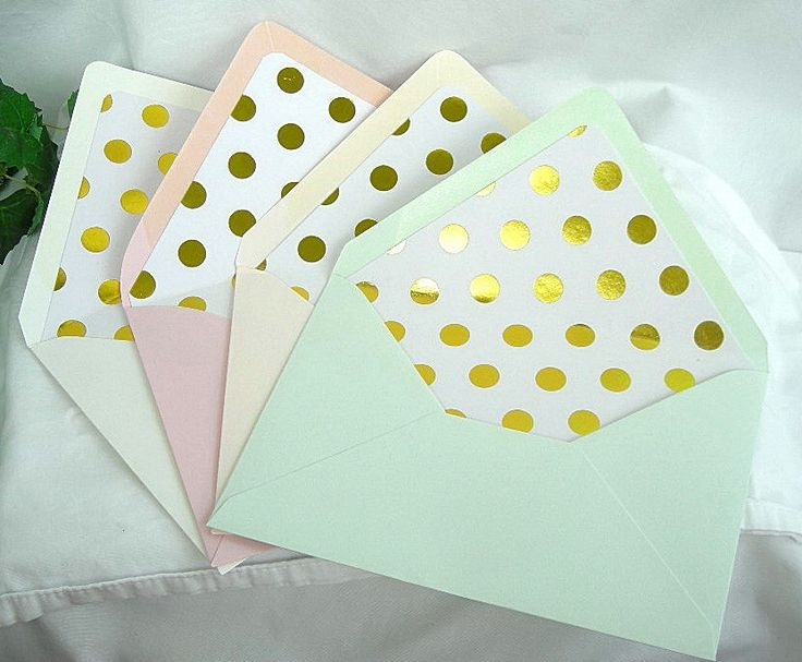 Gold Foil Polka Dot Lined Envelope Wedding Invitation Ivory, Coral Peach, Pink Blush or Mint Green Shabby Chic 10 Piece Set Custom Any Color by AllThingsAngelas on Etsy https://www.etsy.com/listing/199584755/gold-foil-polka-dot-lined-envelope