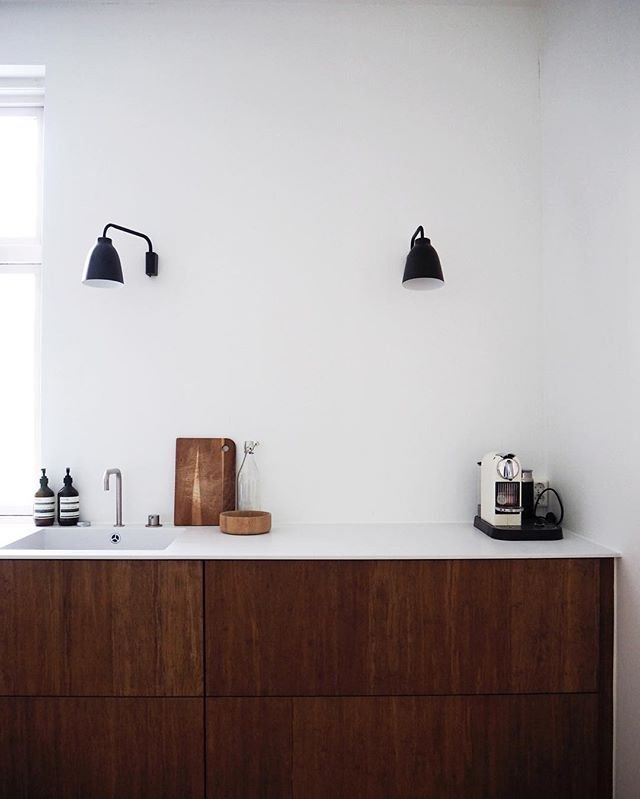 One of our latest projects | dark structure bamboo kitchen with a corian counter top