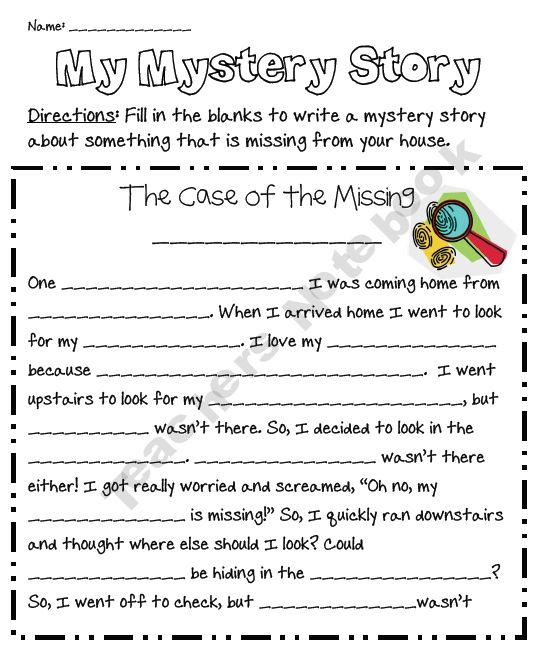 my mystery story freebie...fun filler activity for those ...