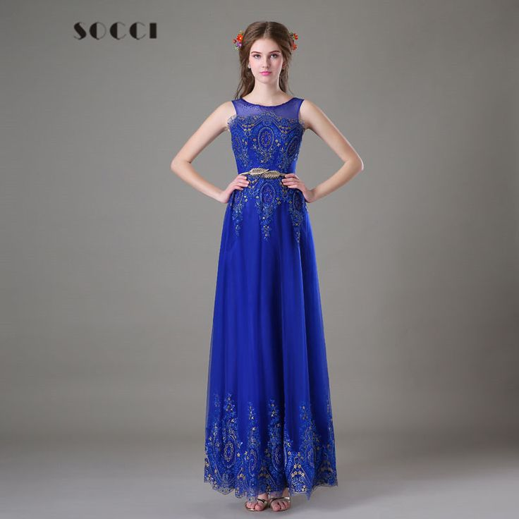 Royal Blue Tulle Lace Evening Dress Long Gold Sashs Formal Wedding party  gowns Like and Share b1415c0c3ba3