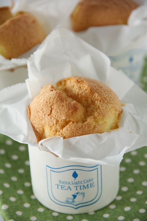 Paper-wrapped Mini Sponge Cake: You know, those cute cup-shaped cake that is spongy, soft, airy, light, and oh-so-good at tea time, or breakfast time? They are not greasy, and not too dense, so you can feel less guilty eating them because they are probably lower in calories.