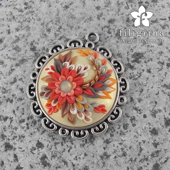 Polymer clay filigree applique technique, handmade jewelry, round pendant, red & beige & gold, vintage, wedding jewelry, flowers, floral jewelry  Handmade pendant FIRE FLOWER with floral motif by Filigrina, €22.99