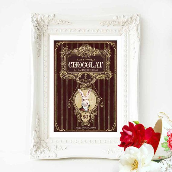 Chocolate rabbit print French vintage decor by MulberryslittleMuse