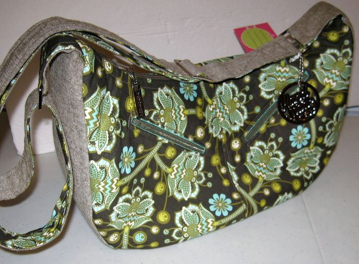 Sheena Vintage Slouchy Hobo Bagzippered cross body /adjustable strap.Made with Tula Pinks' The Birds and Bees and Yarn dyed Essex linen by CreationsbycathyK on Etsy