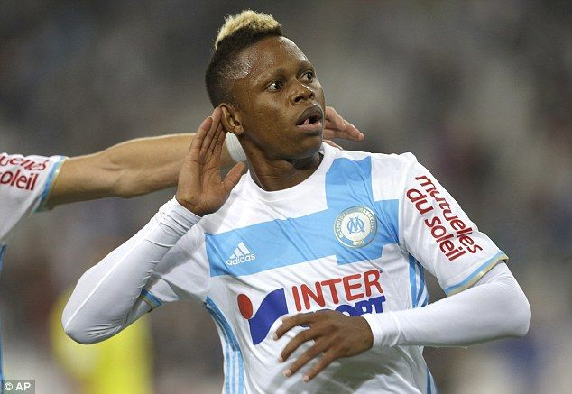 Clinton N'Jie celebrates his first goal since moving to Marseille on loan from Tottenham