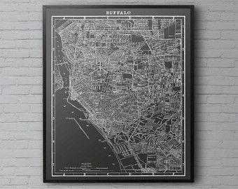 Buffalo Map Print :  Black and White vintage Buffalo New York Map Print Poster 1903