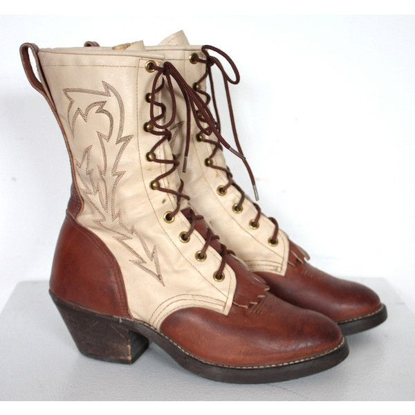 Vintage 1970s Tan and Cream Leather Lace Up Roper Boots // Wrangler//... ($65) ❤ liked on Polyvore featuring shoes, boots, leather high heel boots, high heel cowboy boots, western boots, vintage leather boots and tan cowgirl boots