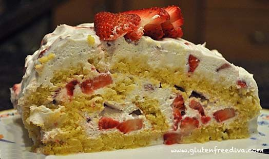 Passover Almond Coconut Sponge Cake with Whipped Cream Strawberry Filling  adapted by Ellen Allard from Jewish Cooking in America by Joan Nathan
